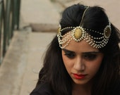 Sooravi brass  lace and faux pearls head gear