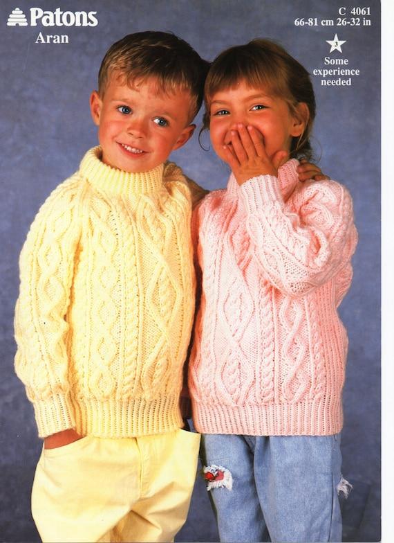 Childrens Knitting Pattern childrens aran sweater aran jumper