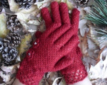 Red / FishNet Knit Fingered Gloves / Winter Accessories / Women Gloves / Gifts For Her /// FORMALHOUSE