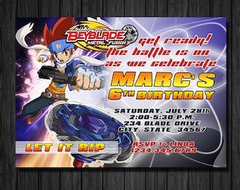 BeyBlade Birthday Invitation, BeyBlade Tournament, DIY, Printable, Digital Format