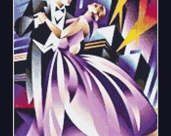 Art Deco Abstract Dancing Couple Cross Stitch Pattern in PDF for Instant Download