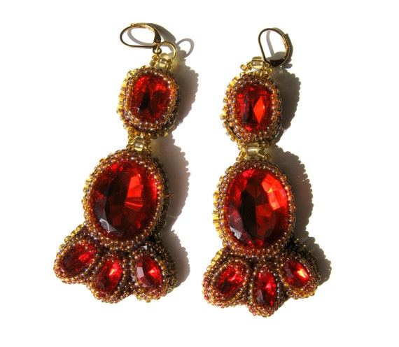 Red Chandelier India: Items Similar To Bollywood Chandelier Earrings Red Beaded
