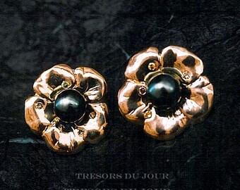 UNIQUE PEARL EARRINGS Tahitian Pearls Diamonds 18k Gold Camellia Flower Earrings Black Pearls Conflict Free Diamonds Pearl Diamond Earrings