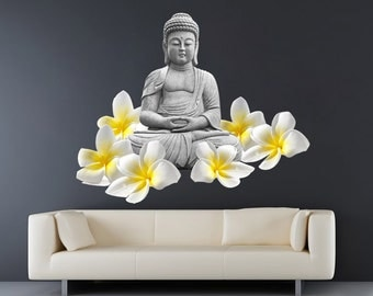 Buddha Meditating Decal - Buda Zen Stickers - Realistic Decals - Ethnic Stickers - Zen Home Decor