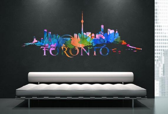 toronto skyline watercolor effect sticker home design art. Black Bedroom Furniture Sets. Home Design Ideas