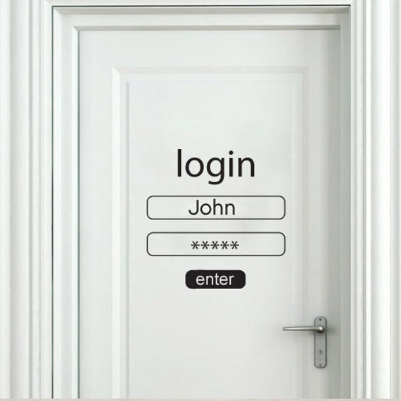 Login and password wall sticker login and password door for Decoration porte interieure poster sticker