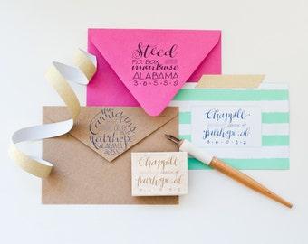 Custom Hand-lettered Address Stamp
