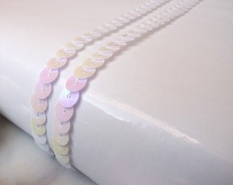 3m White pearl sequin trim – 3 metres ribbon, 6mm, 1/4 inches