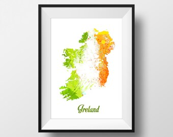 Ireland Watercolor painting Map, Art Print