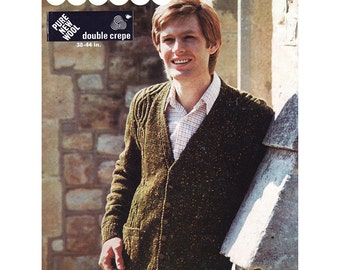Men's Cardigan Knitting Pattern - Patons 1063