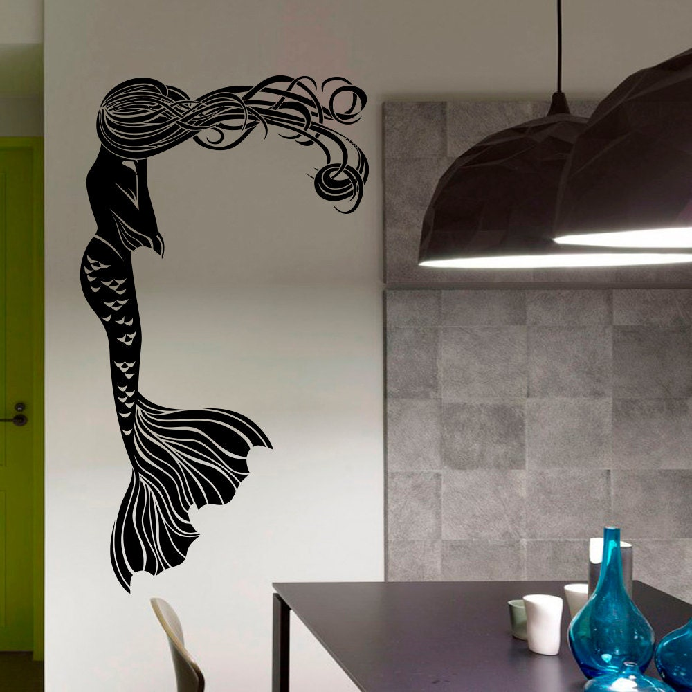 Mermaid wall decal hair girl sea ocean bathroom spa salon for Decor mural wall art