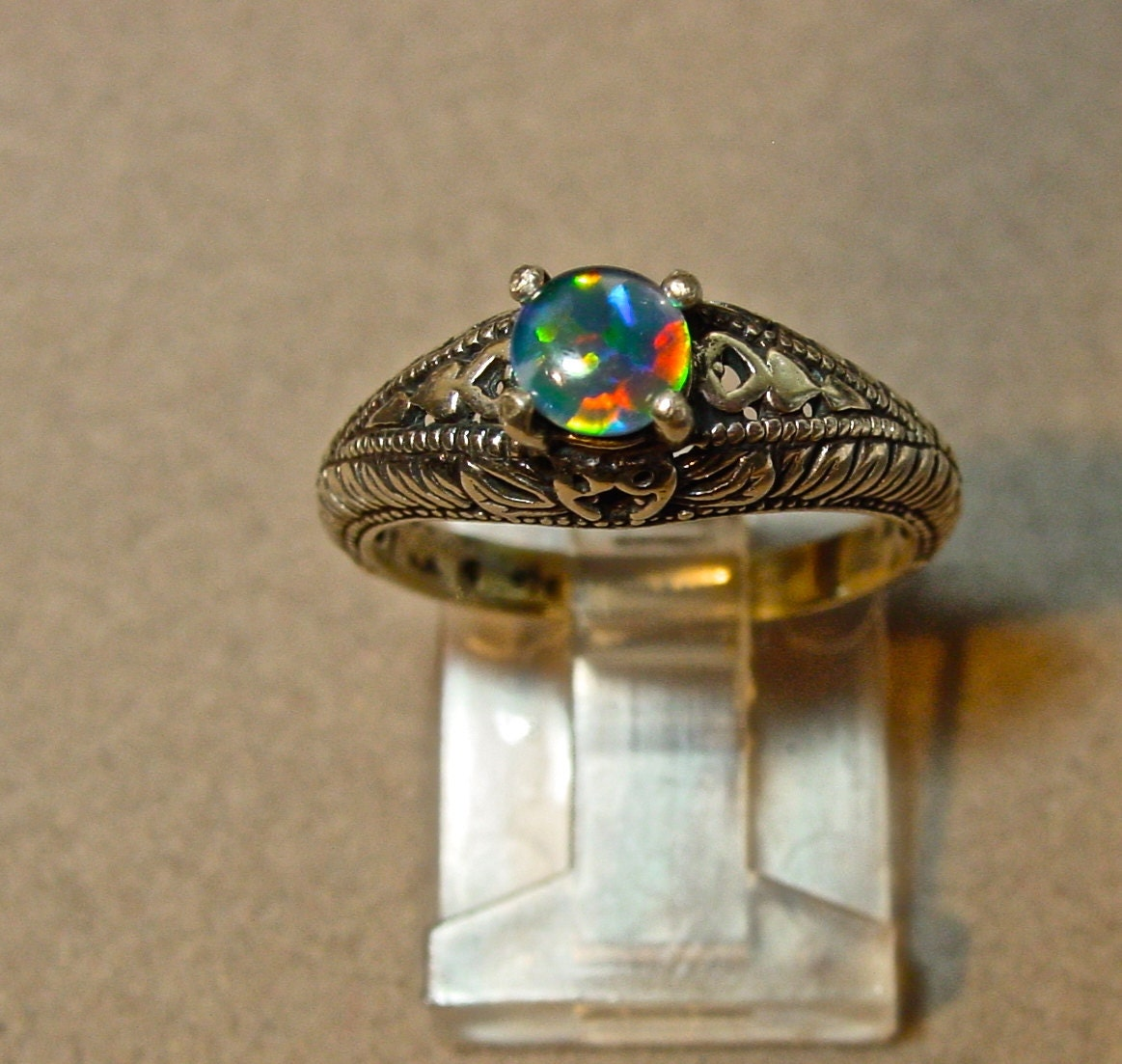 Filigree Opal Engagement Ring Spectacular Genuine by AmyKJewels