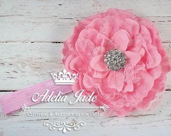 Pink Baby Headband, Pink Flower Headband, Baby Headband, Baby Girl Headband, Flower Girl Headband, Newborn Headbands, Newborn Photo Prop