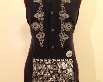 Black & White Embroidered Dress Shirt-->Apron