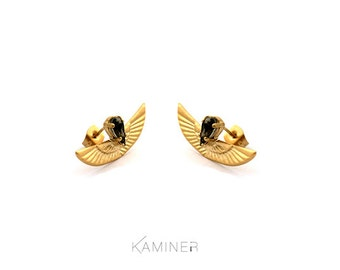 Gold Black Earrings, Gold Wing Stud Earrings, Wing Post Earrings, Gold Swarovski Earrings, Black Swarovski Earrings, Phoenix Earrings
