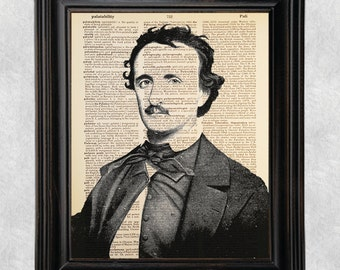 Edgar Allan Poe Portrait, Dictionary Art Print, Vintage Antique Book Page, Printed on Dictionary Paper, 8x10 Print (#170)
