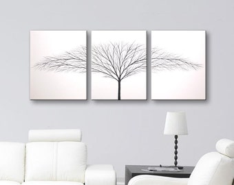 Large Wall Art Tree of Life Painting Canvas Art Black and White Art Wall Decor Home Decor Wall Hangings 54x24 Original Paintings