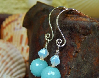 Aqua Luna Earrings - Softly Faceted Blue Jade w Luminous Opalite & Artisan-Made Spiral Sterling Silver Ear Wires