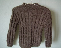 Pull 4-year-old boy, knitted hand, mottled Brown, child garment, for the winter school, Christmas