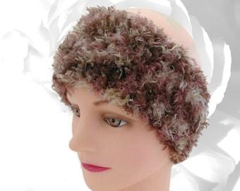 Brown Ear Warmer, Beige Ear Warmer, Fuzzy Ear Warmer, Fuzzy Headband, Multicolor Ear Warmer, Head Warmer, Winter Headband, Knitted Headband