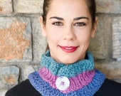 Three colors mini cowl, Knit neck warmer, Knit circle scarf, Winter cowl, Knit women accessories,Neckwarme, Spring fall scarf