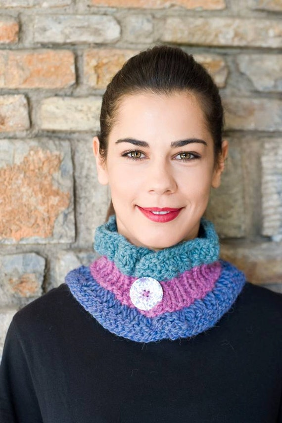 Knitting Pattern For Small Neck Scarf : Knitted cowl Knit neck warmer Scarflette Small scarf ...