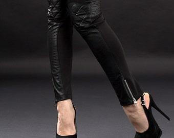 Faux Leather pants / Black faux leather pants / Black leggings / Extravagant leggings / Biker pants / Skinny faux leather pants