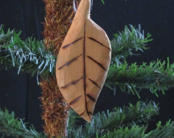 Hand Carved Wood Elm Leaf Ornament