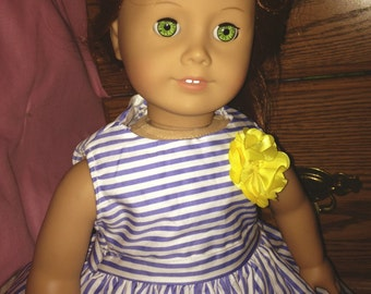 """18"""" Doll Dress fits American Girl Blue & White Striped"""