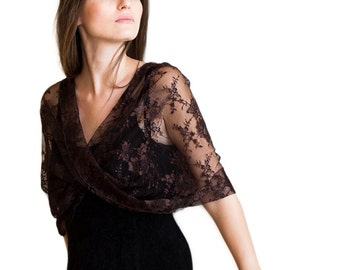 Brown Lace Capelet / Loop Shawl With 4 Wearing Options- Shawl, Shrug, Scarf And Crisscross. Convertible Shawl, Mom Stocking Stuffers DL114