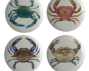 Set of 4 Blue Crabs Ceramic Drawer Knobs or Pulls for Furniture or Cabinets