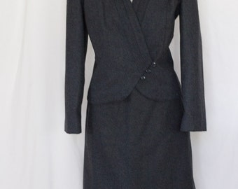 1980s gray skirt suit by David Benjamin