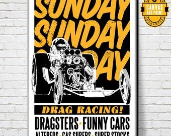 Car Art - Drag Racing Poster - Canvas Art print, Automobile Art, Car Gift, Garage Decor, Race Car, Man Cave Art, Canvas Art, Garage Art