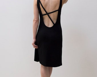 Scoopback Black Tank Dress