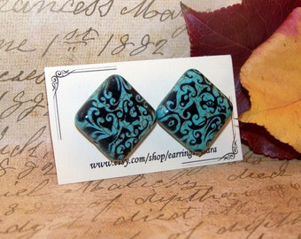 Square turqoise earring, filagree floral pattern, post earring, statement jewelry