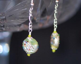 Sterling Silver Foil Glass Green Earrings -