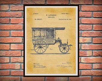 Patent 1889 Ambulance Patent Print  - Doctors Office - Hospital Wall Art - Physician Art - EMT Patent Art - Medical Poster - EMS Wall Art