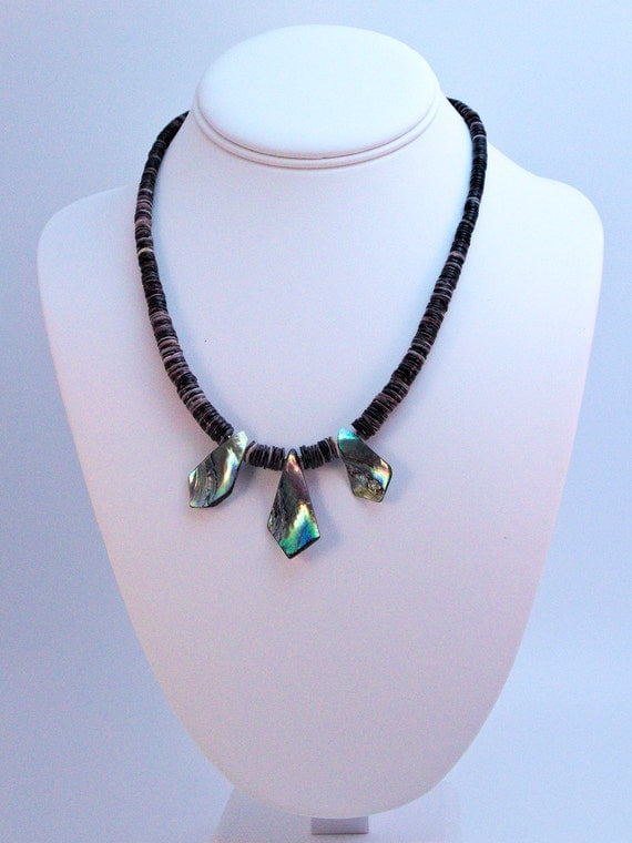 Purple spiny oyster shell heishe necklace with abalone accents