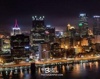 Pittsburgh Cityscape at night Panoramic Print