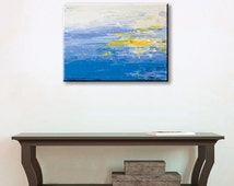 Blue and Yellow Painting 18x24 Original Acrylic Abstract Art on Canvas by YtterbergStudio