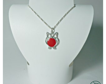 OWL pendant in 925 Silver and enamel on fire (silver and enamel necklance)