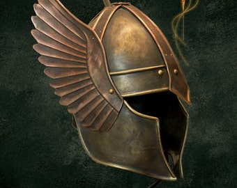 Winged helmet made of metal, unique Nordic style - free shipping