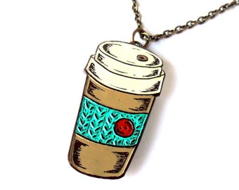 Coffee Necklace, Coffee Travel Mug Pendant, Coffee Cup Necklace, Knit Coffee Cozy, Necklace for Coffee Lover, Gift for Knitter