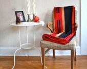 Wool Throw Blanket in Red Tan & Black Large Scale Simple Graphic Native American Inspired Design