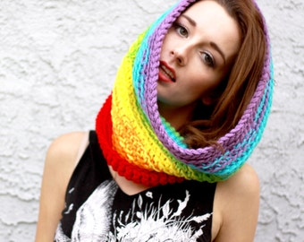 Rainbow Prism Circle Cowl Scarf - Vegan Friendly Acrylic Yarn, Super Bright Magical Colors