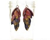 BIG Modernist Earrings / Vintage 1980s Studio Artisan Enameled Copper Earrings / Artsy Avant Garde Dangle Earrings / OOAK / Pierced Ears