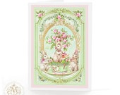 Rabbit card, Easter card, bunny rabbit, tea party,  birthday card, tea party card, mint green, pink roses, baby girl card