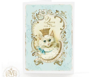 Cat, birthday card, Queen for a day, cat card, cat in crown, vintage cat, cat lovers card, white cat, blue, gold, vintage style