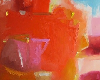 Abstract painting, orange fine art, bright original wall art, warm colours, pink, maroon, gold, yellow, 16 x 16 oil on canvas