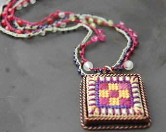 Hand Stitched Patchwork Necklace - rose and gold - needlepoint pendant - bead crochet